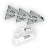 Triangle halogeen keukenverlichting set van: 3 - 20 Watt met schakelaar